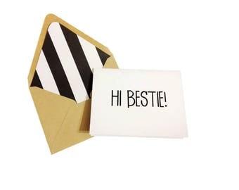 Hi Bestie Card // Friend Greeting Card // Hello Card // Best Friend Card // Just Because Cards // Blank Greeting Card // Single Card