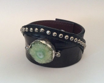 Black Leather Upcycled Cuff Bracelet with Green Druzy Quartz Stone in a Silver Setting
