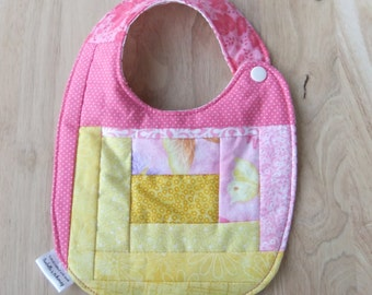 Pink and Yellow quilted bib, Quilted Patchwork Bib for baby girl, New Baby Gift, Baby bibs Handmade, Gift for Baby Girl, Fun gifts for girls