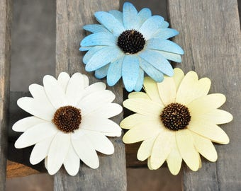 Wooden Flowers - 12 Pcs Pastel Wood Daisy- Floral Supplies  for  Weddings and Other Floral Decorations