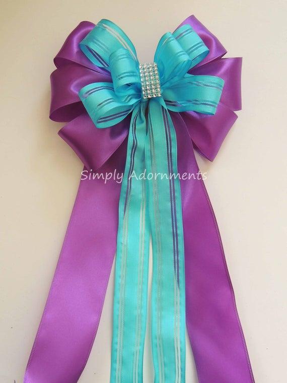 Turquoise Purple Pew Bow Peacock Wedding Chair Bow Purple Blue Wreath Bow Turquoise Purple Birthday party decor Blue Purple Shower Decor