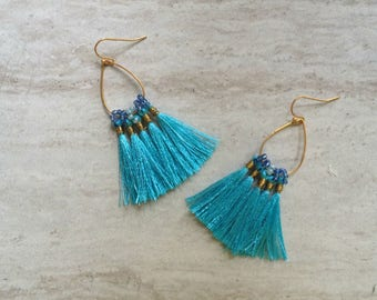 Tassel Teardrop Hoop Earrings Must Have Tassel Earrings Statement Tassle Earrings Turquoise Tassel Earrings