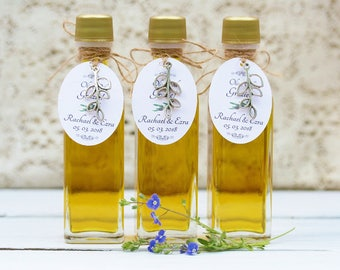 FREE SHIPPING Filled 2oz Olive Oil Favors Custom Tags 2 oz Olive Oil Favors Customized Tags Olive Oil Bottles Olive Oil Favors