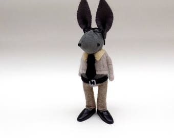 Grey Velvet Bunny  -  Handmade plush doll wearing felt collar and tie, oatmeal pullover and matching felt trousers.