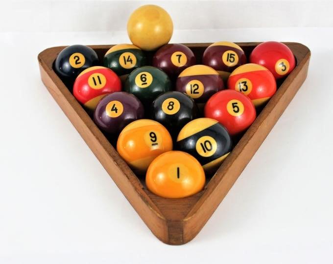 "Vintage Set of Bakelite (Tested) Billiard Balls 2 1/4"" with Rack"
