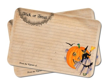 Witch Recipe Cards - Halloween Stationery - Trick or Treat - Bridal Shower - Pumpkin - Kitchen Decor - Set of 12
