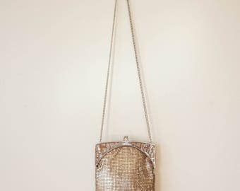 Vintage Whiting and Davis Purse/ 1940s Whiting and Davis/ Silver Mesh Purse/ Vintage Purse/ Vintage Handbag/ Evening Bag/ Retro Purse