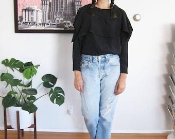 vintage 80s blouse - asymmetrical top - black silk shirt - 1980s clothing - avant grade - modern minimalist top - loose oversized top