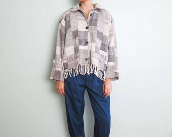 90s Patchwork Jacket - Fringe Jacket - Wool Blend Jacket - Boxy 90s Jacket - Textile Jacket - Texture Jacket - Gray Bohemian Jacket M L