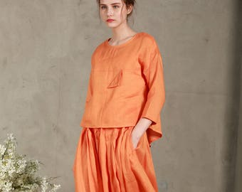 Washed linen cropped front top orange(8 colors), Linen Blouse,  linen shirt, Linen top, linen shirt women,loose top