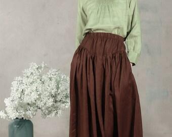 maxi skirt, linen skirt, pleated skirt, deep pockets skirt, flared skirt in brown, black, gray, full length skirt, party skirt, long linen