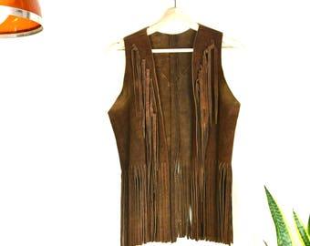 70s Mexican fringe suede vest // vintage brown leather vest