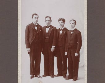Cabinet Card of Four Men in Tails ~ Religious Group