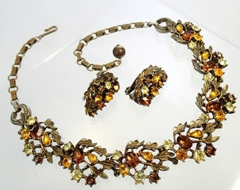 FREE Shipping Vintage Signed Lisner Demi Parure Yellow Amber Brown Rhinestone Austrian Crystal Necklace and Earrings Set Clip On Leaves