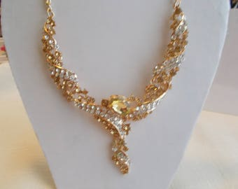 Gold Tone Bib Necklace with Gold Crystal Beads and Clear Rhinestones on a Gold Chain