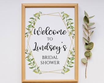 "INSTANT DOWNLOAD - Greenery Welcome Sign Printable, Green Leaves Editable Welcome Sign - Bridal Shower Sign, Baby Shower Sign, 8x10"" OLDP300"
