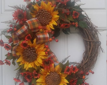 Large Sunflower Wreath, Fall Wreath, Yellow, red, brown Suflower Wreath, Fall Plaid Bow