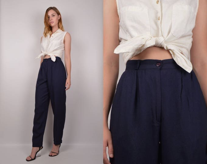 High Waist Navy Trousers / minimalist vintage