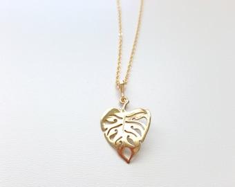 Monstera Necklace - Monstera Leaf Necklace - Tropical Leaf necklace Necklace - Leaf Jewelry - Aldari Jewelry Designs