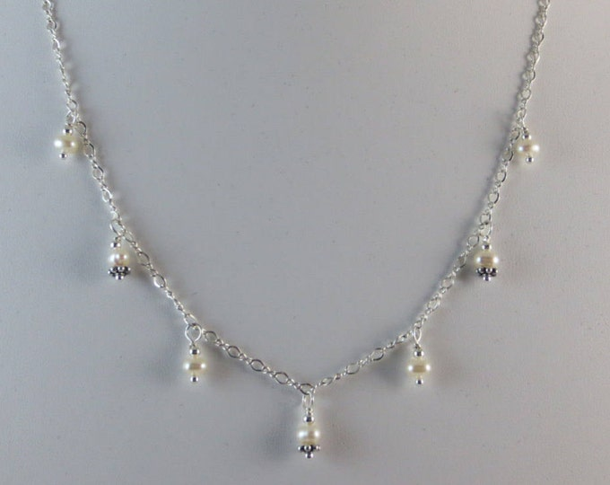 7 Drop White Fresh Water Pearls Necklace on Sterling Silver or 14k Gold Fill