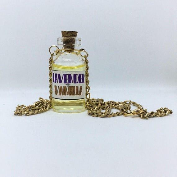 Mini Bottle Necklace | Lavender + Vanilla Scented Oils