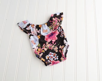 Nightly Garden Stroll - newborn off shoulder floral knit romper in black, fuchsia, purple, pink, mustard yellow, orange and periwinkle (RTS)