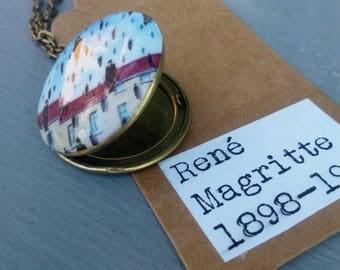 Brass photo locket necklace - vintage style - René Magritte