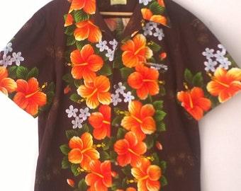 Vintage Ui Maikai Hawaiian Shirt - Orange Flowers - Size Large -  Mens Retro Clothing 1960s - Made in Hawaii