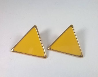 Vintage Large Yellow Earrings - Big Triangle Pierced Fashion Jewelry - 1980s