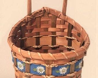 Vintage Rattan Hanging Basket, woven wall planter, boho mail holder, farmhouse decor wall hanging