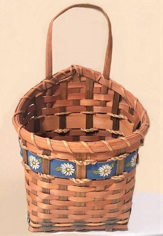 vintage rattan hanging basket woven wall planter boho mail. Black Bedroom Furniture Sets. Home Design Ideas