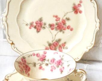 pink floral tea set tea cup trio pink floral tea cup vintage teacup trio german porcelain Sorau Carstens 63
