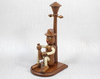 Hand Turned Wooden Novelty Lamp Post and Cartoon Man Ornament
