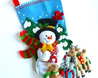 Christmas Stocking Bucilla Stocking Finished Bucilla Stocking Personalized Felt Stocking Family Stocking Forest Friends Christmas Gift