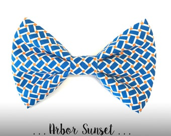 Blue and Orange Dog Bow Tie; Dog Collar Bow Tie: Arbor Sunset