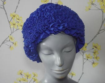 Vintage 60s 70s Royal Blue Swim Cap Vintage Frilly Cap Electric Blue Swimming Hat Pool Party Pageant