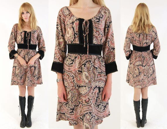 Vtg 70s Paisley Bell Sleeve Dress M/L
