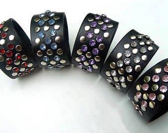 X Cuff Black Leather Crystal Rivet Bracelet, Pink Purple Blue Rhinestones, Women's Black Leather Cuff Bracelet, Biker Goth Bling Motorcycle
