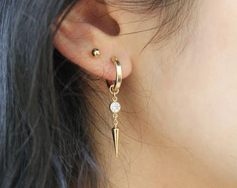 Gold Hoop earrings, 14k gold filled, cubic zirconia and drop pick, combo option with ball post stud earrings, double piercing, two 2