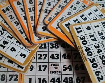 """Twenty Seven (27) Used Square Bingo Cards. Cardboard. From VFM. 5""""x5"""" square."""