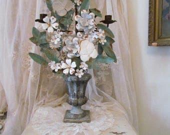 Vintage Italian Tole White Flower Candelabra