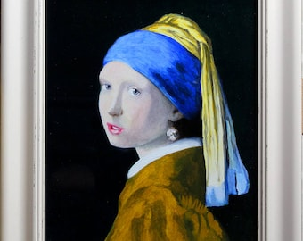 Girl With Pearl Earring Vermeer Study Oil on Board Painting