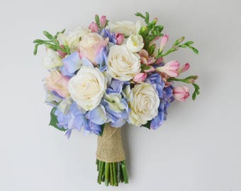 hydrangea bouquet wedding bouquet silk bouquet wedding flowers blue hydrangea bouquet - Garden Rose And Hydrangea Bouquet