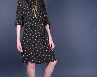 Oscar De La Renta Vintage Polka Dot Black Silk Dress w Sash | Multi-Color Minimalist Designer Dress |