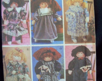 "22"" Stuffed Doll and Doll Clothes Abbies Six Pack Simplicity Crafts Pattern 7650 Uncut Pattern"