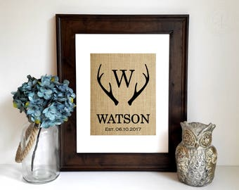 Personalized Anniversary Gift, Deer Antler Decor, Wedding Gift, Engagement Gift, Antler Monogram, Antler Wall Art, Vintage Sign, Home Decor