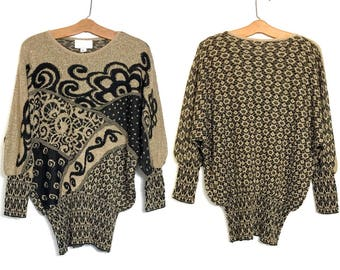 Cache Vintage 80's Sweater Gold and Black Glam Slouchy Sweater 90s Gaudy Sweater Oversized Hipster Sweater Kitschy Ugly Clothing XL C1