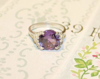 Alexandrite Ring, Sterling Silver Ring, Ring With Big Stone