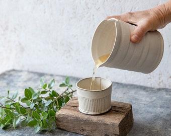 Ceramic Pitcher, Small ceramic jug, White Water jug, White carafe, Pottery Pitcher, White Pottery jug,White Modern vase,Stoneware flower pot