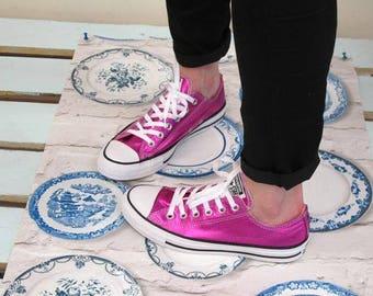 Fuchsia Hot Pink Converse Low Top Magenta Metallic Chuck Taylor Custom Kicks w/ Swarovski Crystal Rhinestone Jewel All Star Sneakers Shoes